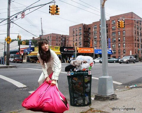 taeyeon taking out the trash